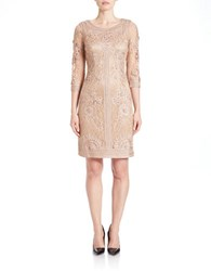 Sue Wong Floral Lace Illusion Back Dress Taupe