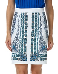 Laundry By Shelli Segal Patterned Pencil Skirt Bright Blue