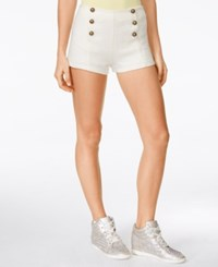 Alice Through The Looking Glass Juniors' High Waist Military Shorts White