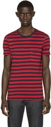 Burberry Navy And Red Striped T Shirt