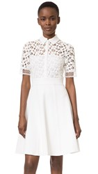Lela Rose Lace Knit Shirtdress White