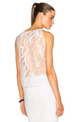 Mason By Michelle Mason Contrast Lace Top In White