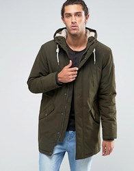 Esprit Fish Tail Parka With Teddy Hood Lining In Khaki Olive Black