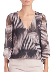 Halston Printed Slit Sleeve Wrap Blouse Black