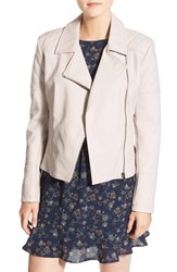 Cupcakes And Cashmere Women's 'Breck' Faux Leather Moto Jacket Bone