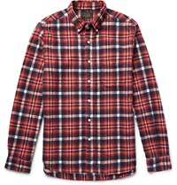 Beams Plus Beas Shaggy Button Down Collar Checked Brushed Cotton Flannel Shirt Red