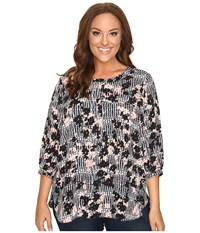 Nydj Plus Size Solid 3 4 Sleeve Pleat Back Holly Go Houndstooth Women's Long Sleeve Button Up Multi