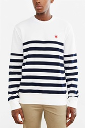 Boast Striped Pique Crew Neck Tee White