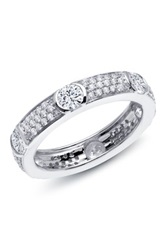 Platinum Plated Sterling Silver Micro Pave Simulated Diamond Eternity Wedding Band