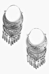 Boohoo Boho Hoop Earring With Dangle Detail Silver