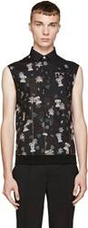 Versus Black Floral Hybrid Anthony Vaccarello Edition Shirt