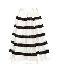 Jupe By Jackie Jerzy Striped Silk Skirt