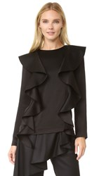 Goen.J Ruffle Front Top Black