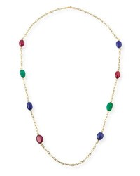 Goshwara Rubellite Emerald And Tanzanite Station Necklace In 18K Yellow Gold 35