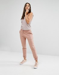 Missguided Ribbed Jogger Rose Pink