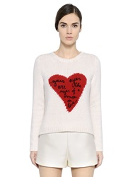Valentino Heart Intarsia Cashmere Sweater Ivory Red