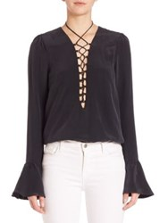 Stone Cold Fox Powell Silk Lace Up Blouse White Black