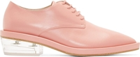 Simone Rocha Pink Leather Clear Heel Pointed Derby Shoes