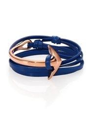 Miansai Half Anchor Cuff Leather Bracelet Rose Goldtone Royal Blue