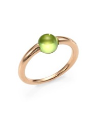 Pomellato Peridot Cabochon And Rose Gold Ring