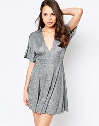 Ax Paris Metallic Skater Dress With Kimono Sleeves Silver