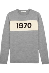 Bella Freud 1970 Intarsia Merino Wool Sweater Gray