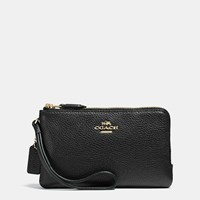 Coach Double Corner Zip Wristlet In Pebble Leather Light Gold Black