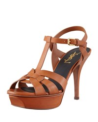 Tribute Low Heel Leather Sandal Brown Saint Laurent Brun