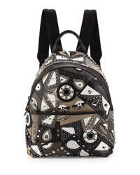 Fendi Runway Studded Monster Eye Printed Backpack Gray Black Grey Black