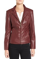 Cole Haan Signature Women's Faux Leather Notched Wing Collar Jacket Burgundy