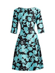 Oscar De La Renta V Neck Floral Print Full Skirt Silk Dress Blue