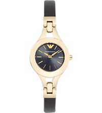 Emporio Armani Ar7405 Chiara Matte Leather And Gold Toned Watch Black