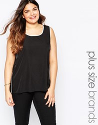 Junarose Plus Sissa Top With Contrast Piping Black