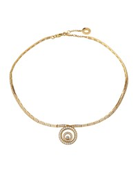 Chopard Happy Spirit 18K Yellow Gold Floating Diamond Necklace Women's