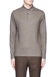 Isaia Cashmere Cotton Polo Shirt Brown