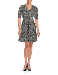 Gabby Skye Plus Printed Short Sleeve Fit And Flare Dress Black White