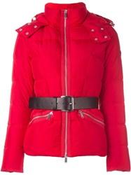 Michael Michael Kors Belted Puffer Jacket Red