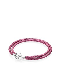 Pandora Design Pandora Honeysuckle Leather Double Wrap Bracelet Pink