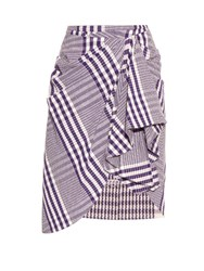 Stella Jean Check Ruffle Skirt Purple White