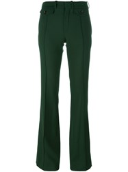 Chloe Fitted Flared Trousers Green