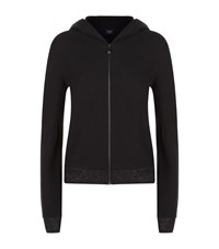 Armani Jeans Lurex Trim Logo Hoodie Female Black