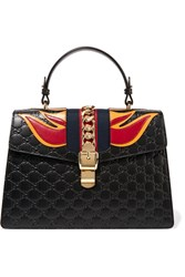 Gucci Sylvie Appliqued Embossed Leather Tote Black