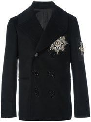 Alexander Mcqueen Embroidered Patch Peacoat Black