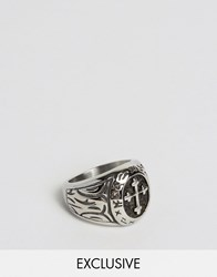 Seven London Chunky Cross Ring Exclusive To Asos Silver