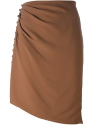 Marco De Vincenzo Buttons On The Side Skirt Nude And Neutrals