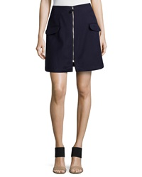 Risto Zipper Front Mini Skirt Navy Double Garba