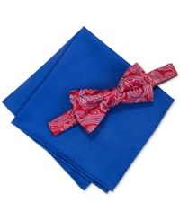 Countess Mara Men's Martin Paisley Pre Tied Bow Tie And Solid Pocket Square Set Red