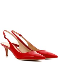 Gianvito Rossi Patent Leather Sling Back Pumps Red
