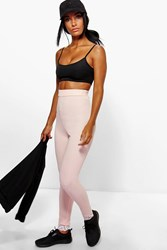 Boohoo Ribbed High Waist Lace Trim Leggings Nude