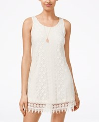 Speechless Juniors' Lace Crochet Trim Shift Tank Dress Bone